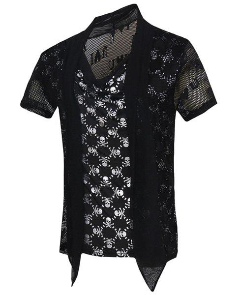 Skulls Printed Short Sleeves Faux Twinset T-Shirt For Men - SILVER M