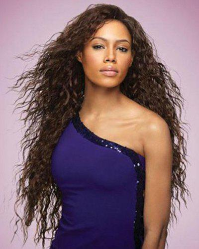 Fluffy Curly Synthetic Stunning Extra Long Dark Brown Capless Wig For Women - DEEP BROWN