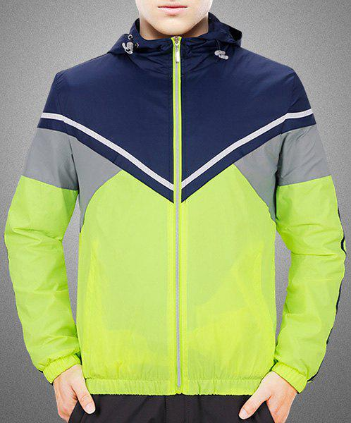 Hooded Plus Size Color Block Spliced Long Sleeve Sport Men's Quick-Dry Jacket - NEON GREEN XL