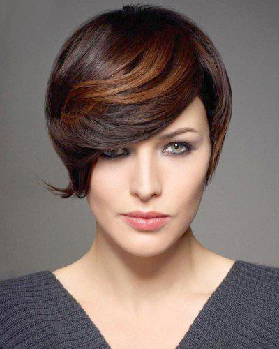 Vogue Straight Short Attractive Brown Highlight Side Bang Capless Wig For Women - COLORMIX