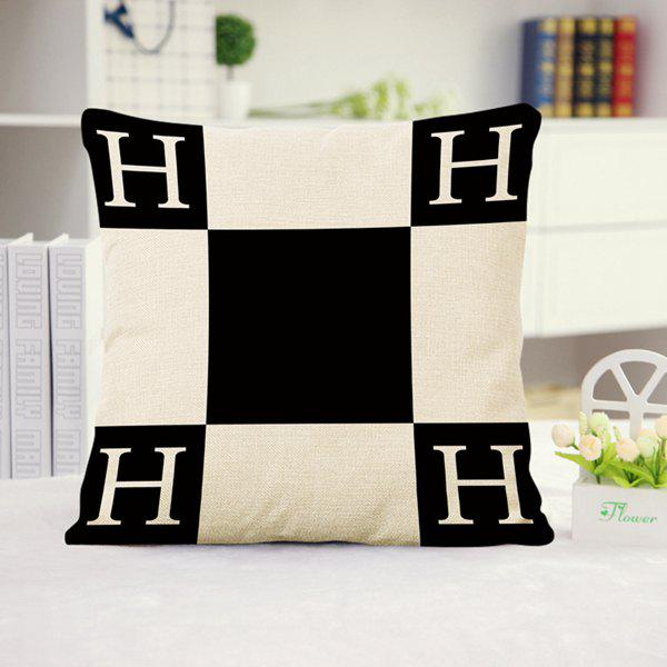 Buy Fashion Letter H Pattern Color Matching Square Shape Pillowcase (Without Pillow Inner) WHITE/BLACK