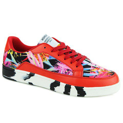Trendy Floral Print and Lace-Up Design Men's Casual Shoes - RED 43