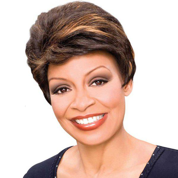 Noble Brown Mixed Synthetic Stylish Natural Straight Women's Short Wig - COLORMIX