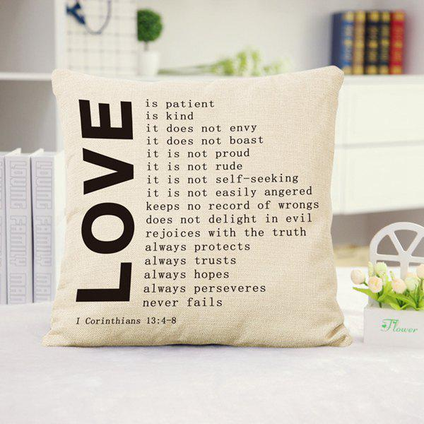 Fashion Love Letters Pattern Square Shape Flax Pillowcase (Without Pillow Inner) салфетница rosenberg jch 1319