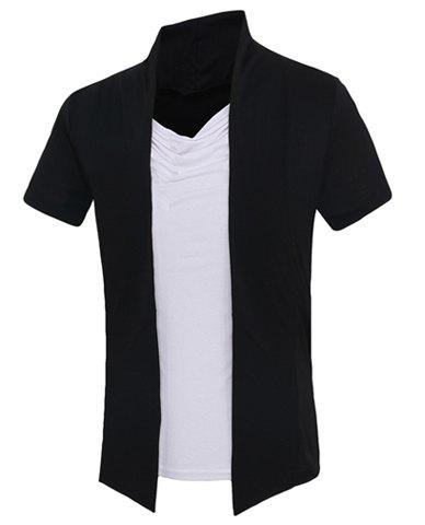 Color Block Short Sleeves Faux Twinset Men's T-Shirt - BLACK XL