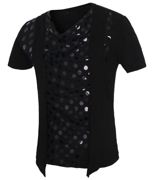 Circle Printed Short Sleeves Faux Twinset Men's T-Shirt - BLACK M