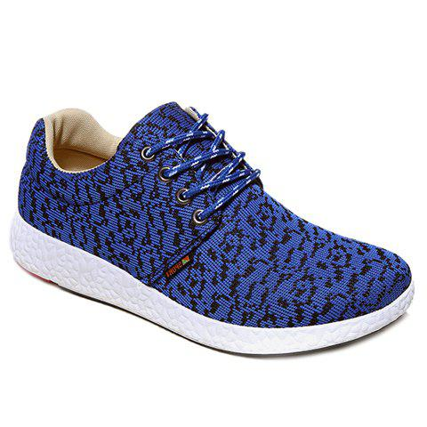 Fashionable Lace-Up and Color Matching Design Men's Casual Shoes - BLUE 43