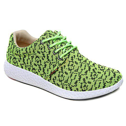 Fashionable Lace-Up and Color Matching Design Men's Casual Shoes - GREEN 41