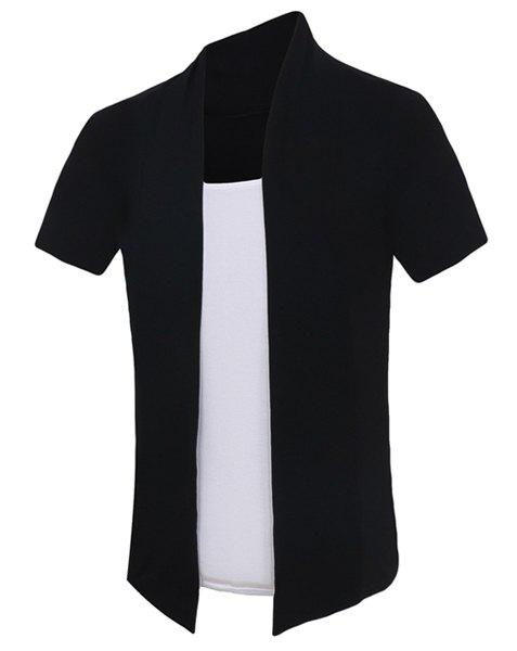 Pullover Color Block Short Sleeves Faux Twinset Men's T-Shirt - BLACK L