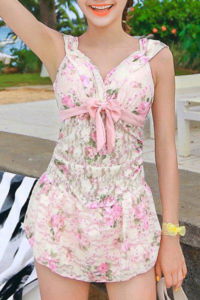 Sweet Women's V-Neck Floral Print See-Through Backless One-Piece Swimwear - PINK XL