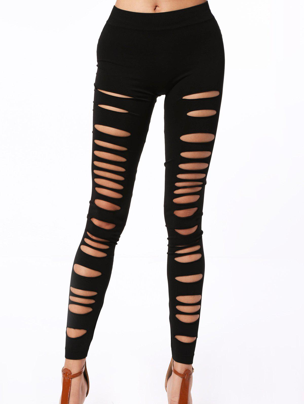 Stylish Solid Color Hollow Out High Elasticity Slimming Leggings For Women - BLACK ONE SIZE