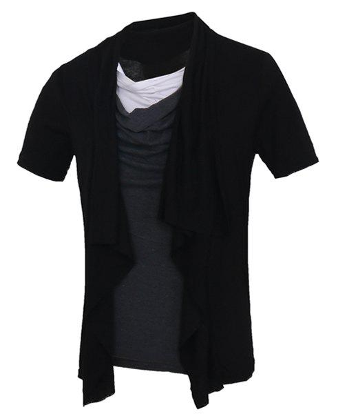 Splicing Short Sleeves Faux Twinset Men's T-Shirt - BLACK M