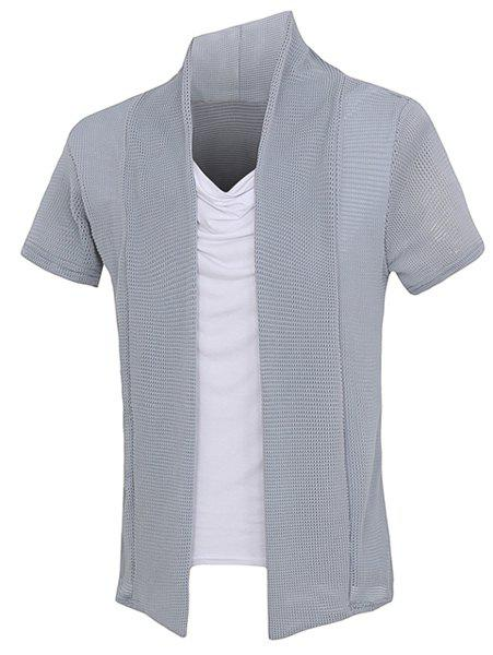 Mesh Splicing Short Sleeves Faux Twinset Men's T-Shirt - GRAY XL