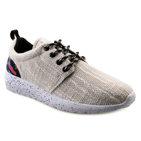 Fashionable Camouflage Print and Lace-Up Design Men's Casual Shoes - OFF WHITE 39