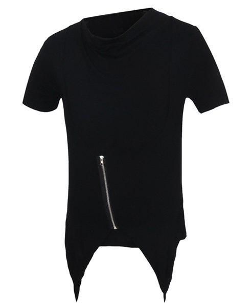 Zipper Design Short Sleeves Faux Twinset Men's T-Shirt - BLACK M