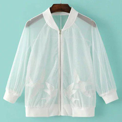 Stand Collar manches 3/4 brodé See-Through Jacket Women mode  's - Blanc L