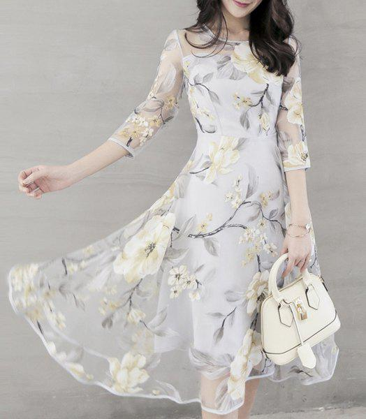 Chic Voile Spliced 3/4 Sleeve Jewel Neck Flower Dress For Women - OFF WHITE S