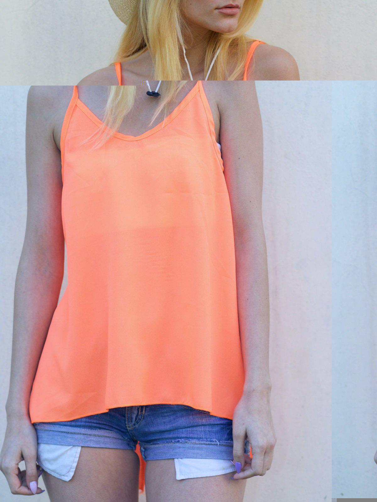 Sexy Women's Strappy Backless Criss-Cross Solid Color Chiffon Top - ORANGE L