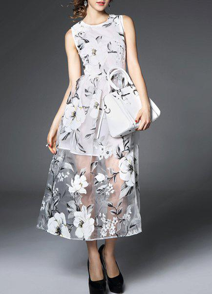 Chic Voile Spliced Sleeveless Jewel Neck Flower Dress For Women - GRAY M