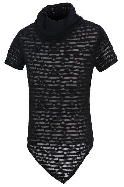 Short Sleeves Solid Color See-through T-Shirt For Men - BLACK M