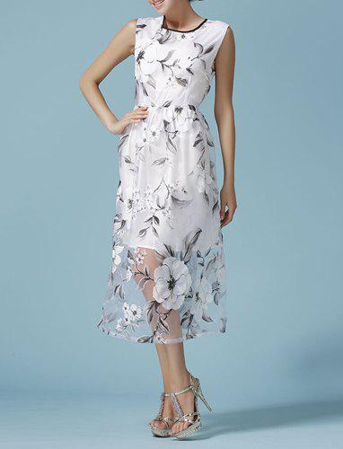 Buy Chic Voile Spliced Sleeveless Flower A-Line Dress Women WHITE