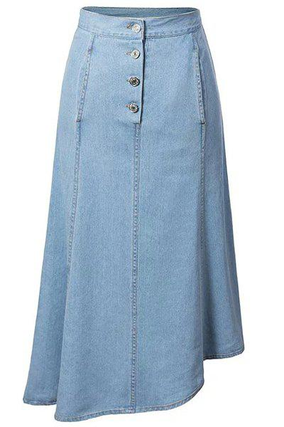 Fashionable High Waist Solid Color High-Low Hem Denim Women's Skirt - LIGHT BLUE M