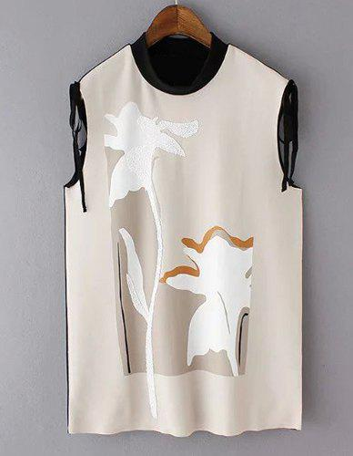Elegant Sleeveless Stand-Up Collar Patchwork Women's Blouse - APRICOT L