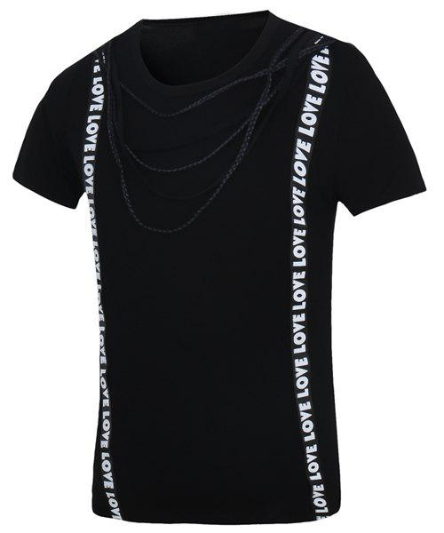 Casual Letter Printed Short Sleeves T-Shirt For Men - BLACK M