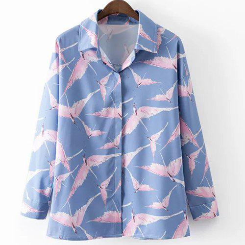 Leisure Style Shirt Collar Long Sleeve All-Over Birds Print Women's Shirt - BLUE/PINK L
