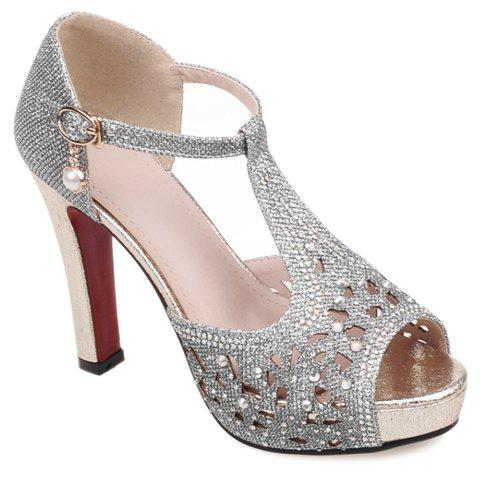 Elegant Rhinestones and Hollow Out Design Women's Sandals - SILVER 36