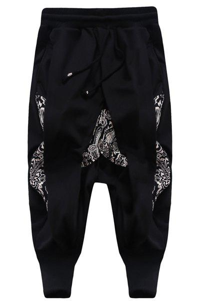 Printing Loose Fit Harem Cropped Pants For Men - BLACK L
