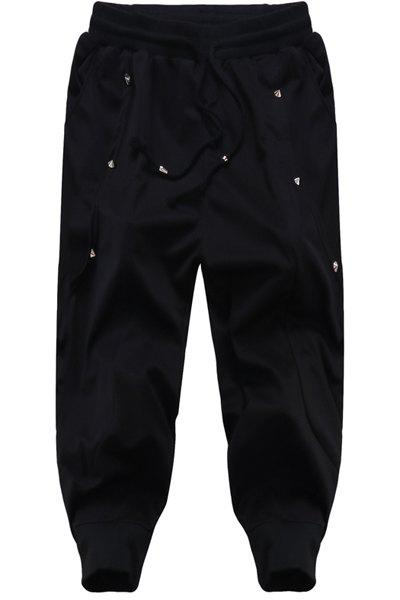 Printing Lace Up Loose Fit Harem Cropped Pants For Men