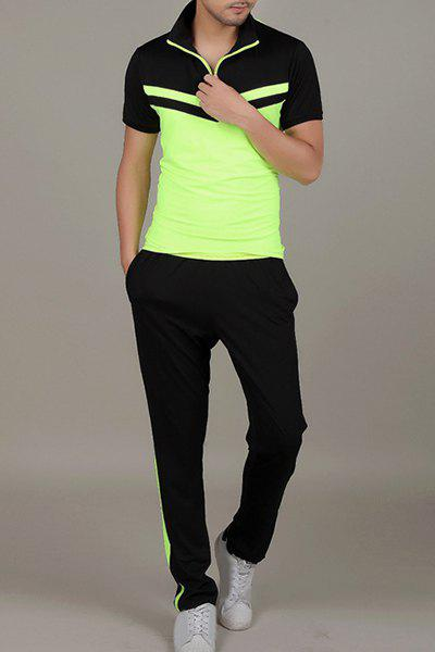 Color Block Spliced Turn-Down Collar Quick-Dry Short Sleeve Men's T-Shirt Suit (T-Shirt + Pants ) - NEON GREEN M