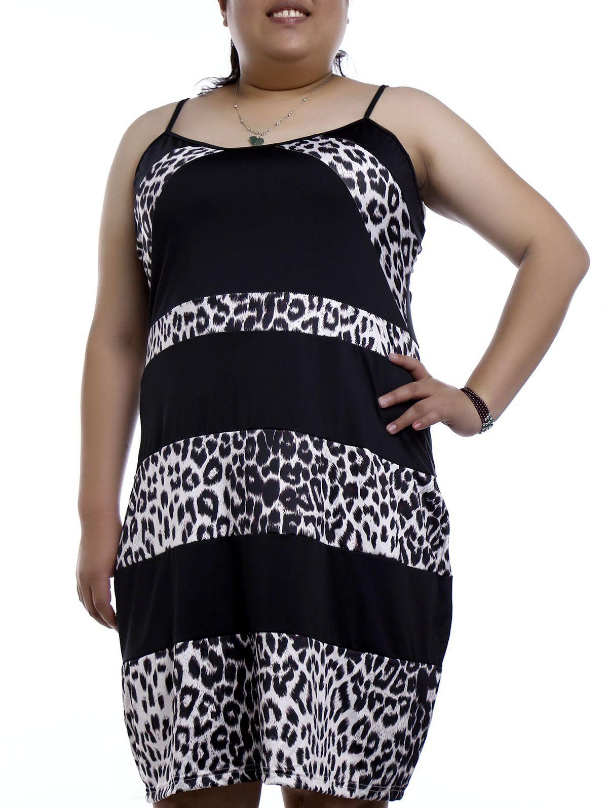 Graceful Spaghetti Strap Sleeveless Leopard Print Plus Size Women's Nightdress