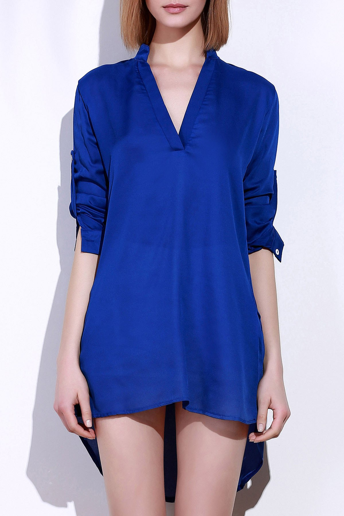 Long Sleeve Plunging Neck Loose-Fitting Solid Color Women's Blouse - SAPPHIRE BLUE L