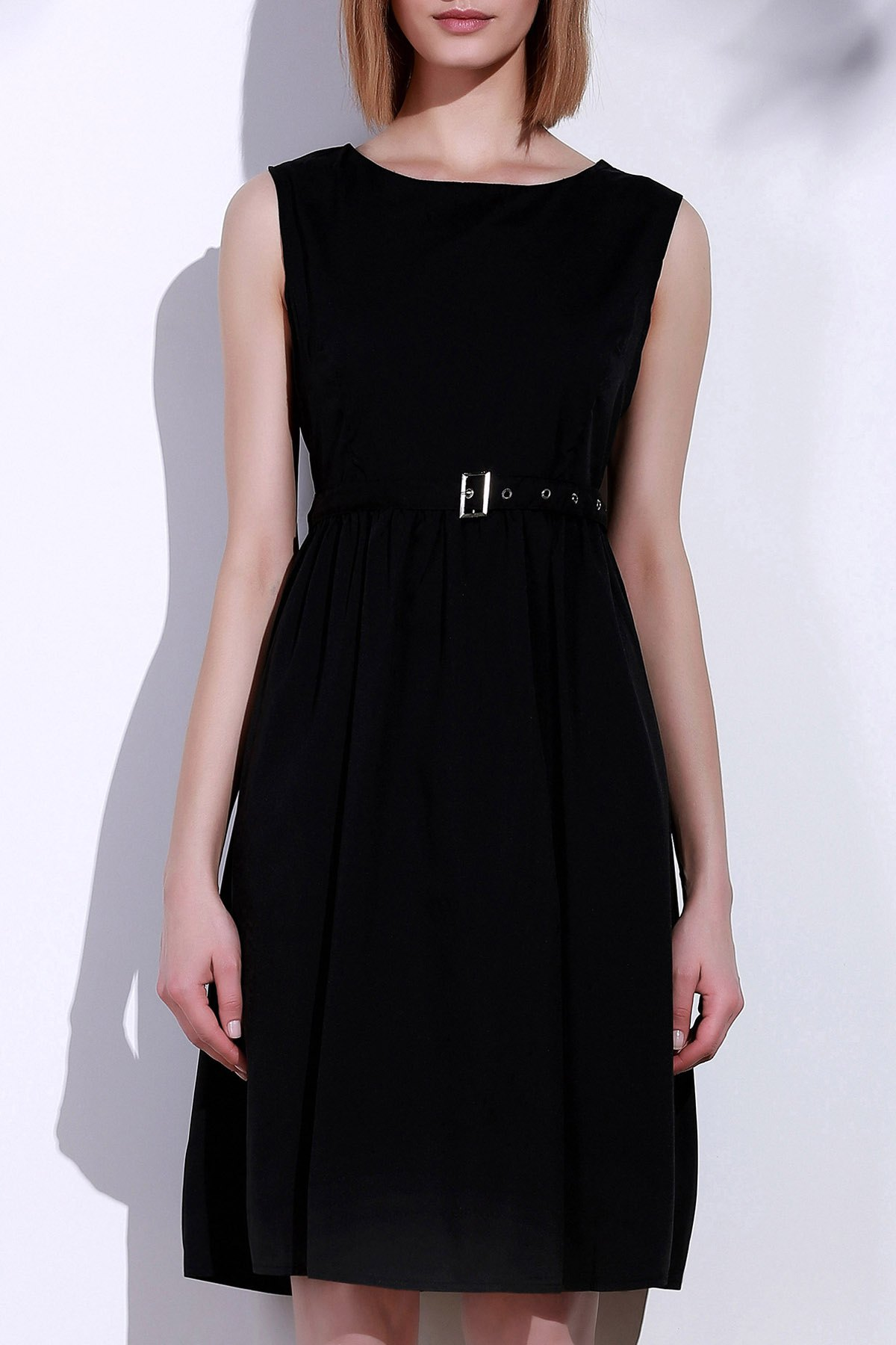Women's Retro Style Sleeveless Solid Color Dress - BLACK S