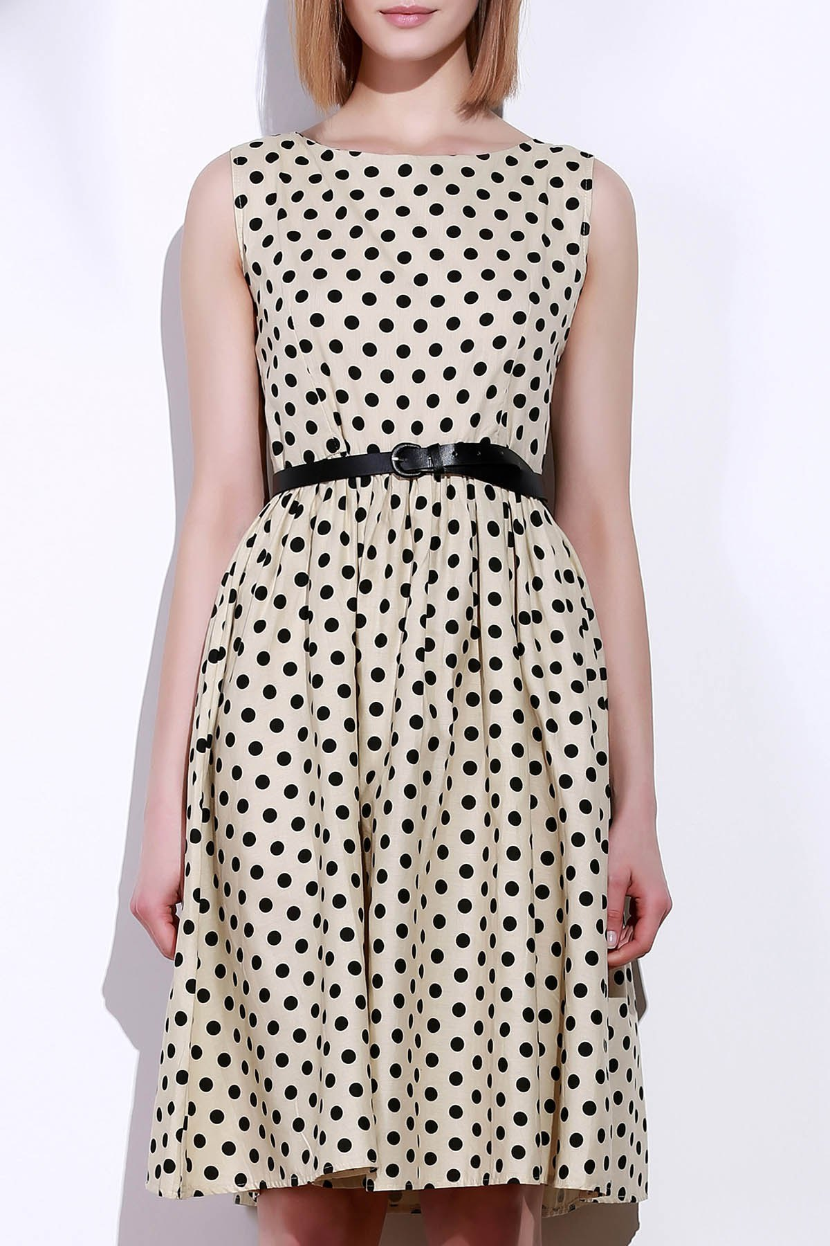 Retro Style Boat Neck Sleeveless Polka Dot Women's Dress