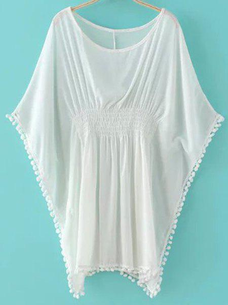 Casual Batwing Sleeve Scoop Neck Solid Color Fringed Women's Blouse