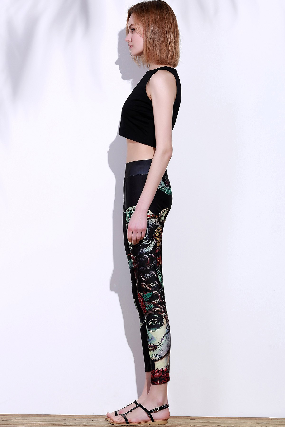 Active Elastic Waist Slimming Bird And Skull Print Women's Pants - BLACK ONE SIZE(FIT SIZE XS TO M)