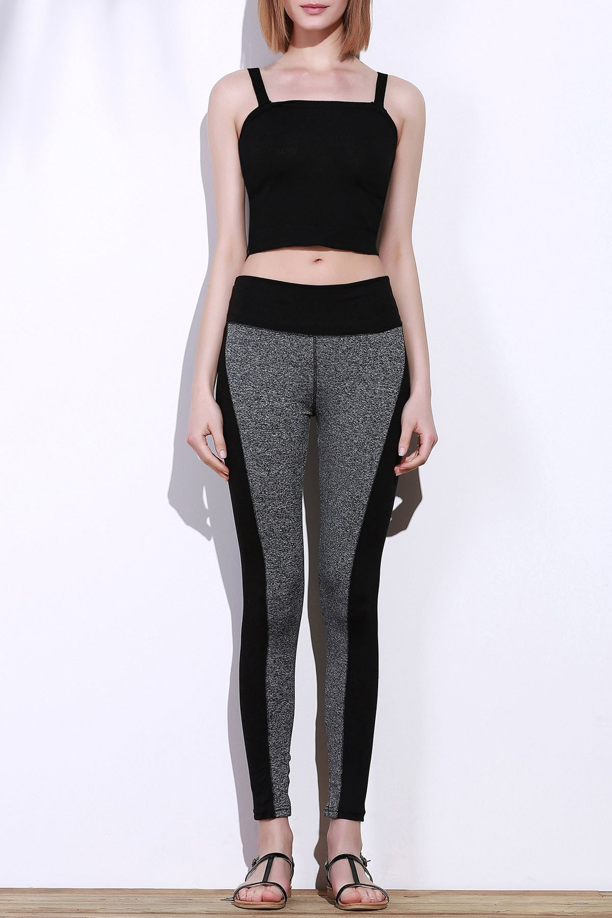 Active Stretchy Skinny Black and Gray Spliced Women's Pants - BLACK/GREY M