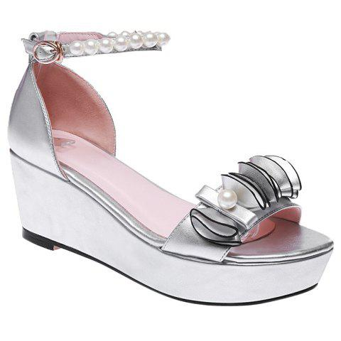 Stylish Ankle Strap and Beading Design Women's Sandals - SILVER 37