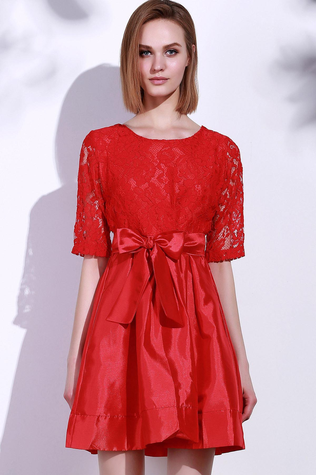 Elegant Round Neck Half Sleeve Bowknot Embellished Hollow Out Women's Dress - RED L