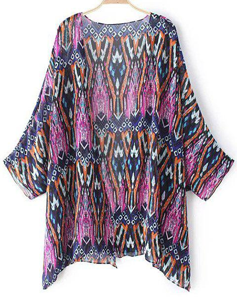 Chic Batwing Sleeve V Neck Printed Women's Kimono - PURPLE ONE SIZE(FIT SIZE XS TO M)