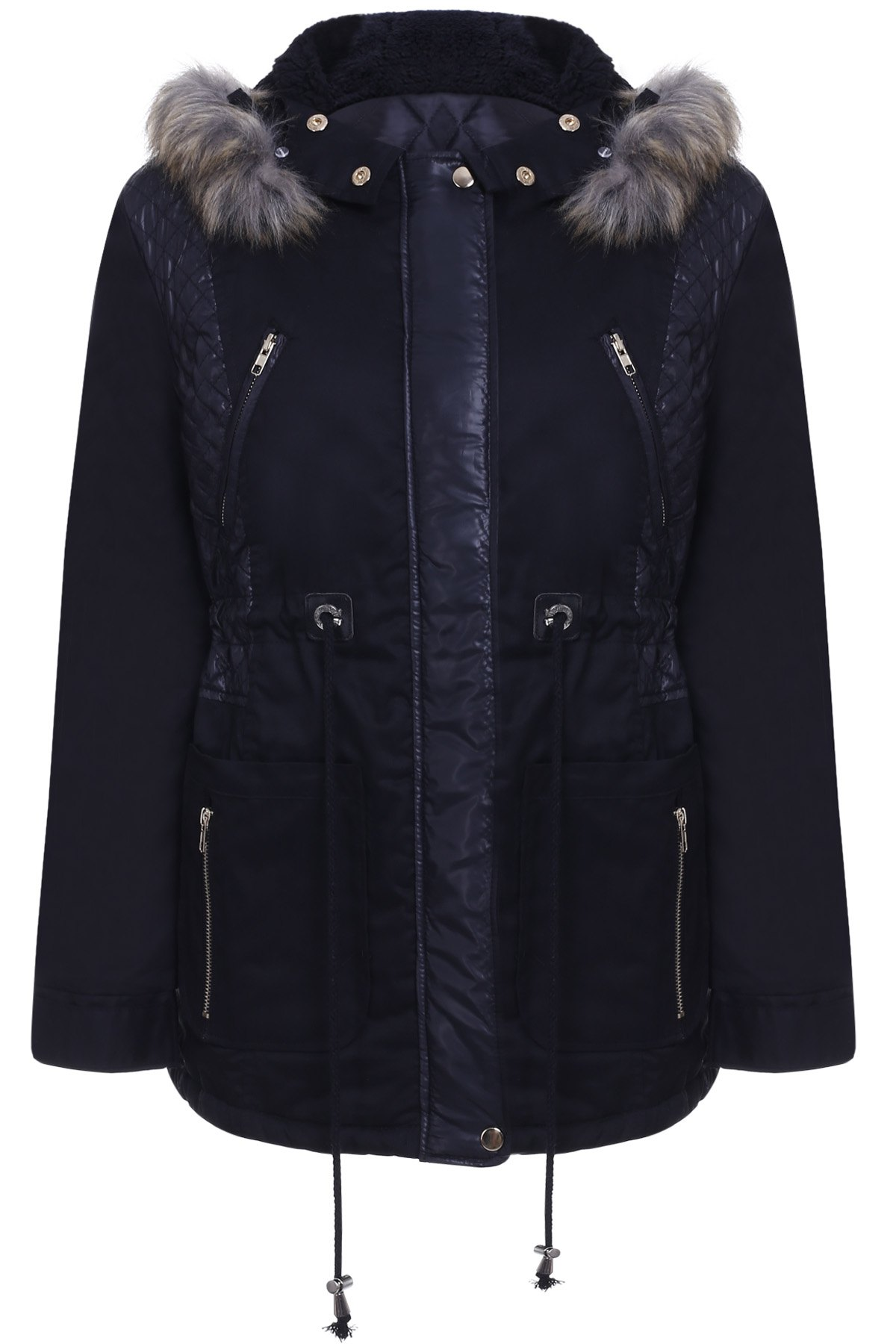 Faux Fur Hooded Long Sleeve PU Splicing Thick Coat For Women