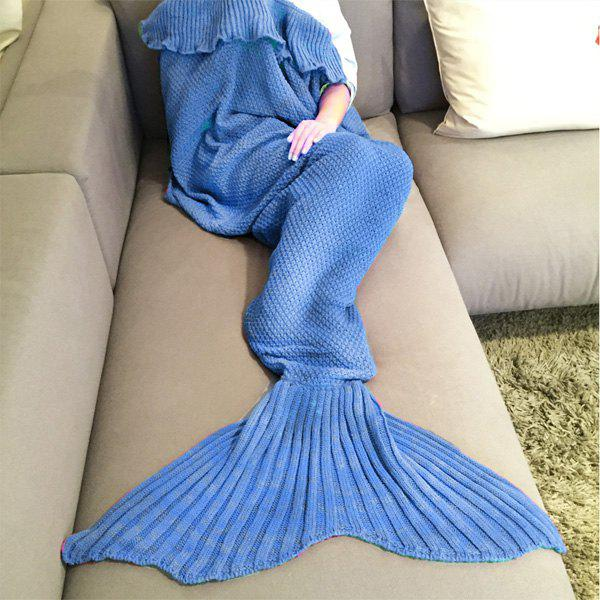 Stylish Comfortable Falbala Decor Knitted Mermaid Design Throw Blanket - ROYAL BLUE