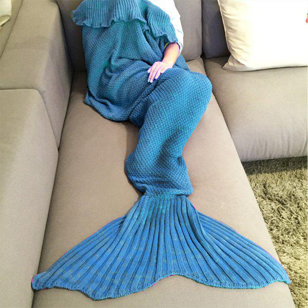 Stylish Comfortable Falbala Decor Knitted Mermaid Design Throw Blanket - LAKE BLUE