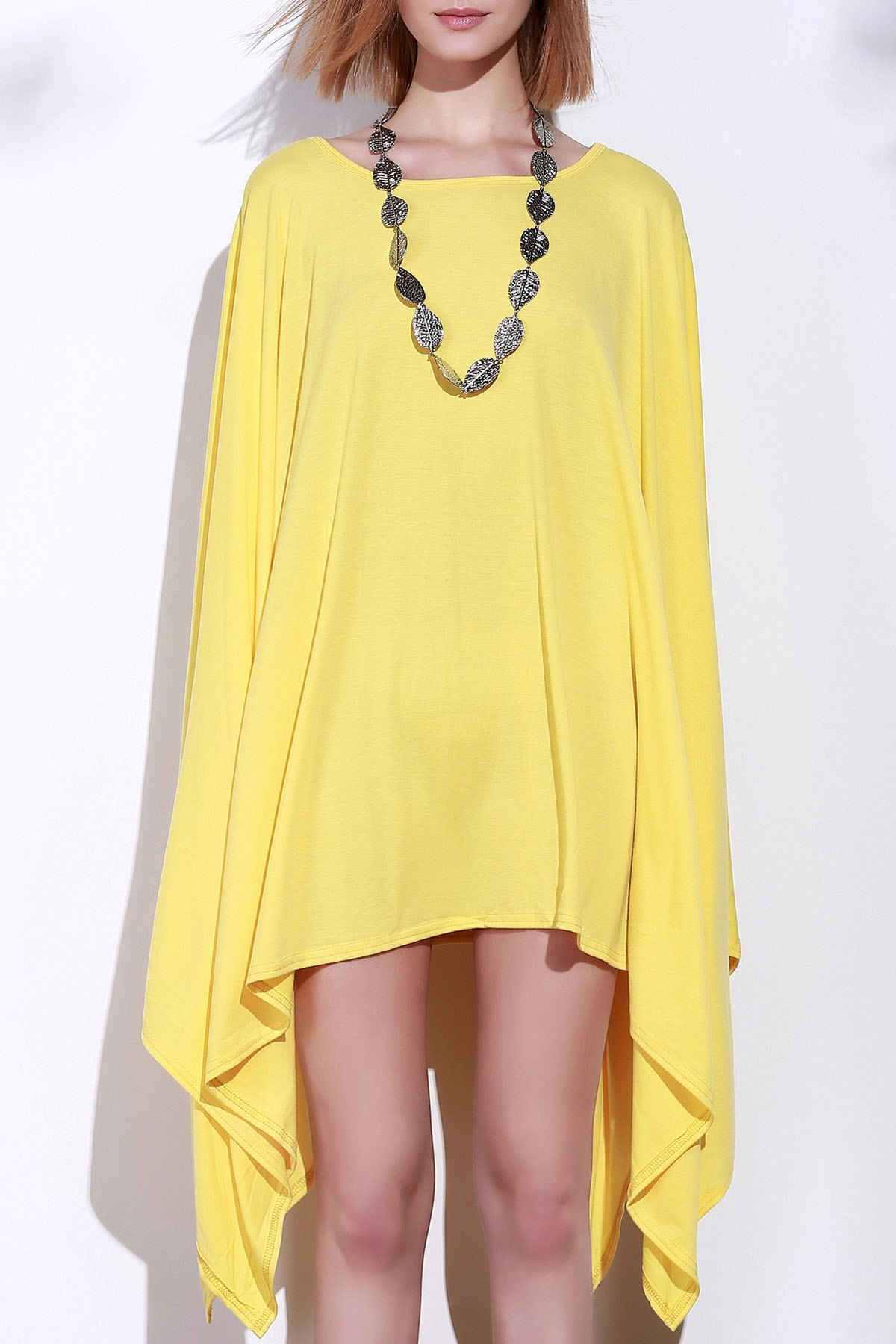 Handkerchief Plus Size Caped Top with Batwing Sleeve - YELLOW M