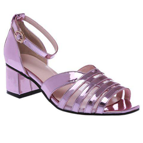 Fashionable Chunky Heel and Gauze Design Women's Sandals - LIGHT PURPLE 39