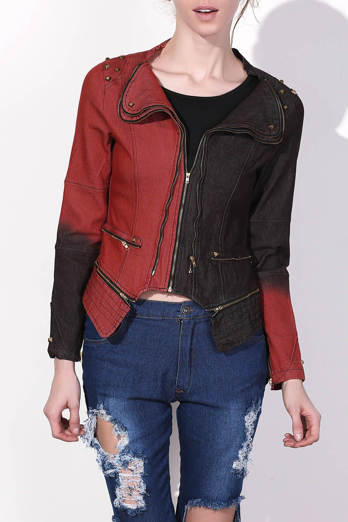 Punk Turn-Down Neck Long Sleeve Hit Color Studded Women's Jacket - RED/BLACK M