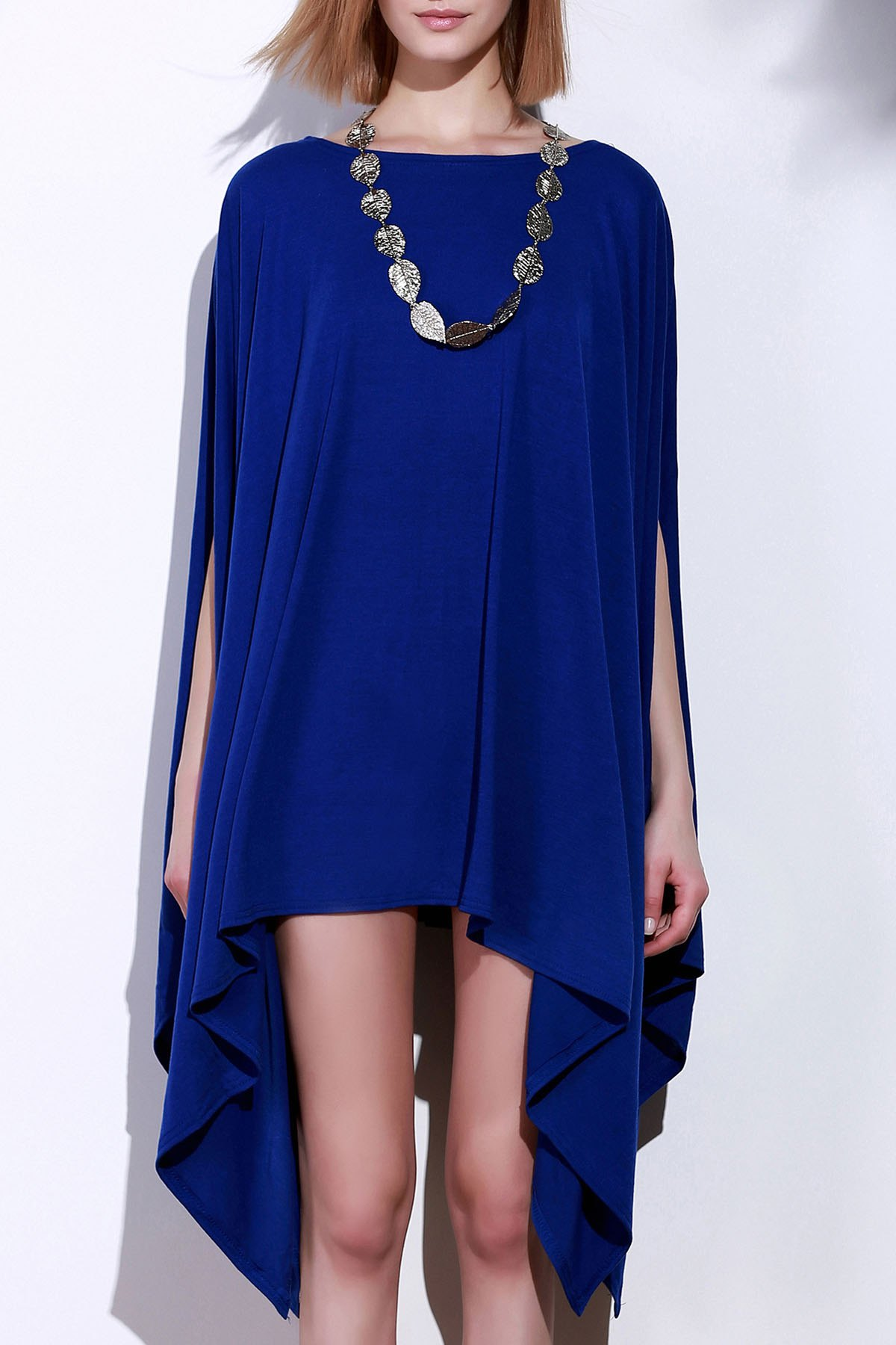 Simple Solid Color 1/2 Batwing Sleeve Asymmetric Loose Top For Women - BLUE L